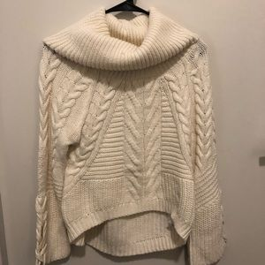 Express White Cable Knit Slouchy Turtleneck